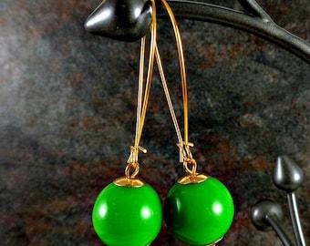 Green Earrings, Bead Earrings, Gumball Earrings, Green, Long Earrings, Gold Earrings, Kidney Wire Earrings, Drop Earrings, Dangle Earrings