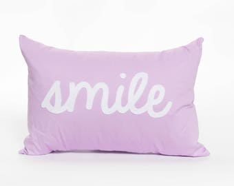 Smile | Happy Face | Emoji | Text | Cursive | Home Decor | Accent Pillow | Pillow Cover