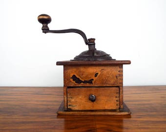 Antique 1800s Imperial Coffee Grinder, Unique Primitive Country Rustic Home Decoration, Hand Crank Herb Mill