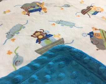 Minky Blanket - Noah's Ark Print Minky with Vibrant Turquoise Dimple Dot Minky Backing - great for baby or toddler