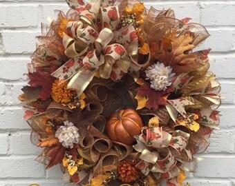 Fall Pumpkin & Leaves Wreath, Fall Wreath