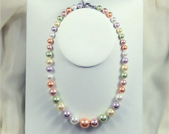 free shipping- shell pearl necklace, 8-16 mm multi-color shell pearl necklace