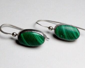 SALE Vintage Sterling Silver Southwestern Style MF Signed Malachite Gemstone Pierced Dangle Earrings