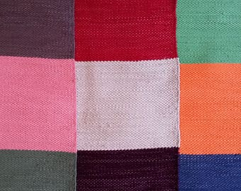 "Rag Rug - Hand-made - All Cotton - 22"" x 30"" - Wide Stripes"