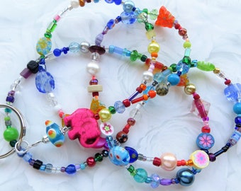 CHEERFUL ELEPHANT- Beaded ID Lanyard Badge Holder- Millefiore, Wood, and Pearl Beads with a Rainbow of Glass Beads (Comfort Created)