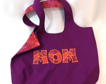 Handbag with pockets Batik MOM Purse Purple Pink Machine Embroidered Magnetic Snap Boho Bag Handmade Customizable bananabunch gift for mom