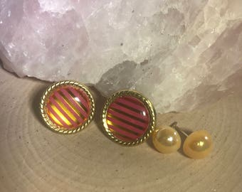 Pink and Gold Striped and Yellow Stud Earrings Set of Two