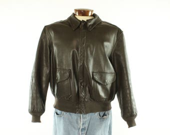 Vintage 80s COOPER Leather Bomber Jacket Type A-2 Flight Air Force Military Coat 1980s Mens Size 46 R Brown