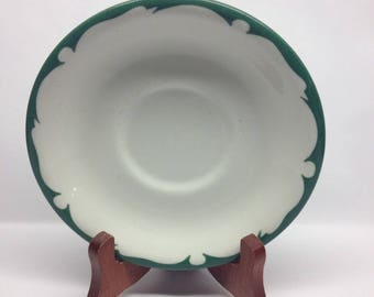 Vintage Buffalo China green and white saucer Wave Crest Pattern