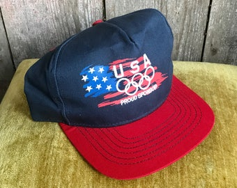 Vintage 90s USA Olympic trucker hat