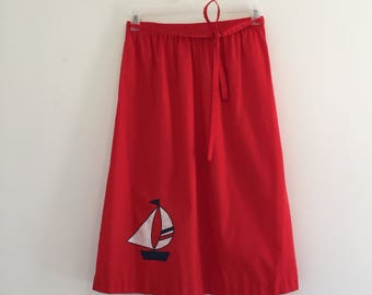 Vintage 70's Red Sailboat Skirt M