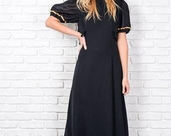 ON SALE Vintage 70s Black Maxi Dress Beaded fringe Puff Sleeve A line Medium M 8717