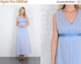 Sale Vintage 70s 80s Blue Maxi Dress A Line Floral Print Bow XS 10000