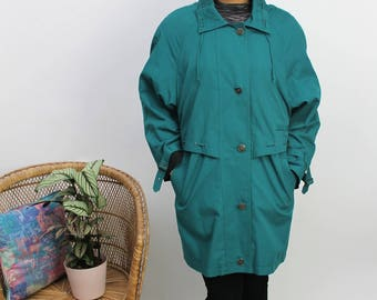 1990s Green Buttoned Anorak Size UK 12, US 8, EU 40