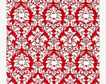 """SUMMER SALE END Of Bolt - 1 Yard Cuts (36""""x44"""") of Red Petite Dandy Damask From Michael Miller"""
