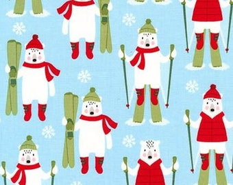 Skiing Bears on Sky Blue From Robert Kaufman's Frosty Friends Collection by Andie Hanna