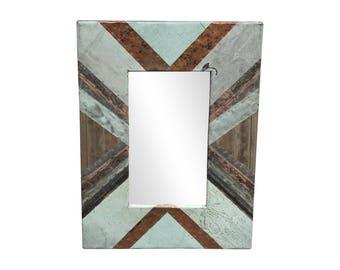 28 in. x 34 in. Diagonal Copper Cornice Patchwork 4.5 in. Mirror