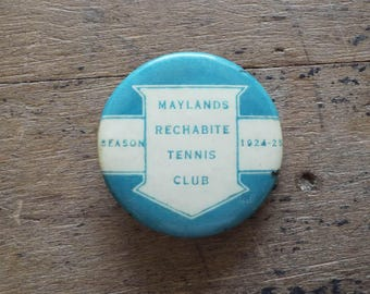 Antique 1924 Religious Maryland Rechabites Tennis Club Pinback Button Pin Badge, Unique Christmas Gift For Christian Grandparents