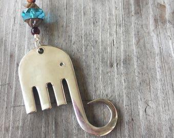 Fork Elephant Necklace - Upcycled Antique Silverplate Fork - Pachyderm - Aqua Czech Glass Turbine Bead (03447-LV)