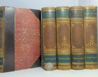 Antique Book Set. Bret Harte Various Volumes. 5 volumes Total. 1882 Quarter Leather Marbled Papers Gilted Nice collectible Set