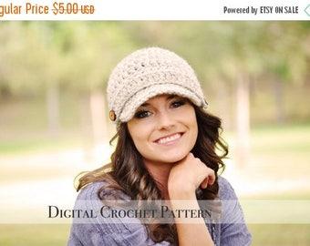 ON SALE Crochet Pattern / Crochet Hat Pattern / Brimmed Hat Pattern / Crochet Newsboy Hat Pattern / Beanie Hat Pattern / Womens Hat Pattern