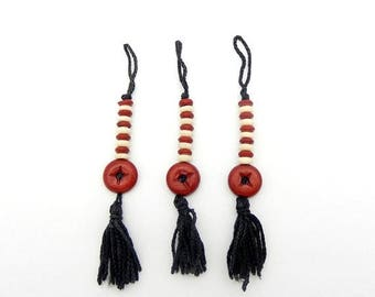 45% off Liquidation SALE Black Tassel Pendant with White and Red Colored Accent Beads (S75B19-02)