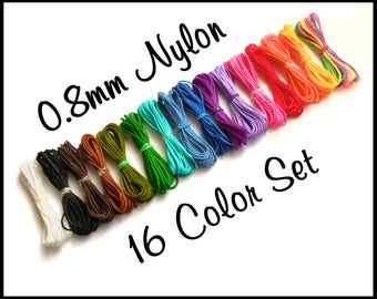 Nylon Bead Cording - 16 Color Set - 0.8mm Nylon Beading Cord