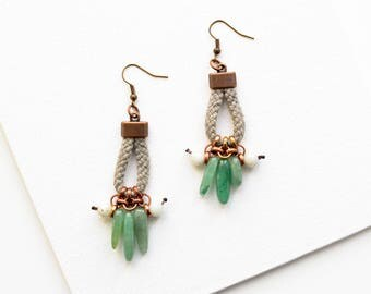 Agate Earrings, Beaded Earrings, Amazonite Earrings, Boho Jewelry, Statement Earrings, Rope Earrings, Green Stone Earrings, Gift Inspiration