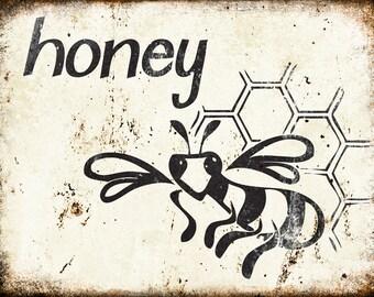 "Honey // Farm Fresh // Metal Sign // 12"" x 16"""