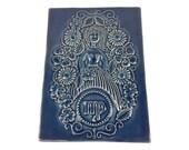 Jie Gantofta Ceramic Wall Plaque/Tile - Virgo - Blue Glaze - Made in Sweden
