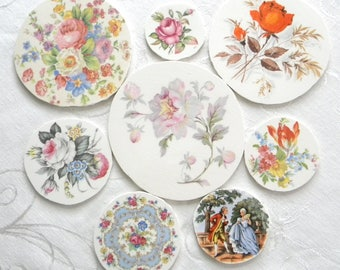Mosaic China Tiles - Gorgeous Round Focal Tiles - Set of 8