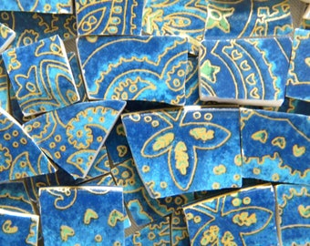 Blue Paisley MOSAIC China Tiles - Recycled Plates - 50 Tiles