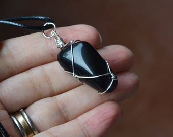 Black Obsidian Necklace, Mens Necklace, Mens Stone Necklace, Unisex Jewelry, Gifts Under 30, Jewelry for Him, Sale, Christmas Gifts, For Him