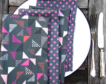 Neon Pink Cloth Napkin Set, Mixed Set, Polka Dot, Triangles, Medium Grey Color, Eco Friendly, Sustainable