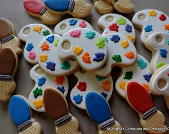 Art themed Paint palette and paint brush decorated sugar cookies (#2605)