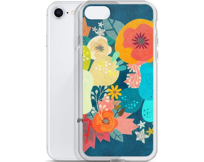 Featured listing image: Bounty in Cerulean Floral Cacti Art Phone Illustration Tamer Animals iPhone Case