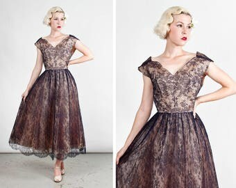 Vintage 1950s Navy Blue Chantilly Illusion Lace Dress