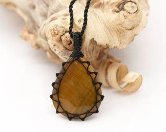 Guy Gifts, Tiger Eye Jewelry, Men Necklace, Orange Stone Necklace, Surfer Jewelry, Macrame Pendant, Tiger's Eye Necklace, Christmas Gifts