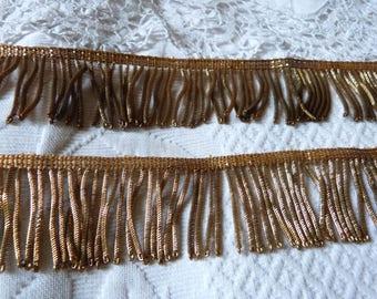 Antique French gold metallic bullion fringe trim trimming passementerie galon BIG 1800s gold metallic thread caterpillar for sewing supply