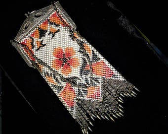 100 Year Old FLAT Mesh VIVID Orange & Black Floral Enameled Evening Bag. Art Deco Flapper Purse, Flat Liquid Movement w/ Brass Pointed Drops