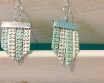 Mint Green and White Suede Silver Studded Earrings
