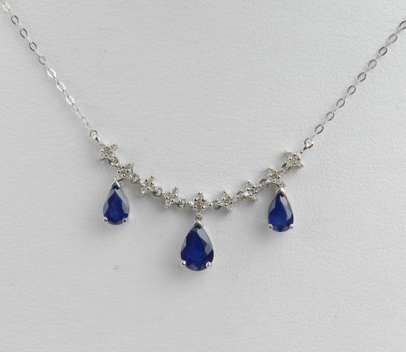 "Sapphire and Diamond Necklace Wedding Drop Pendant 14K White Gold 18"" Chain September Birthstone"