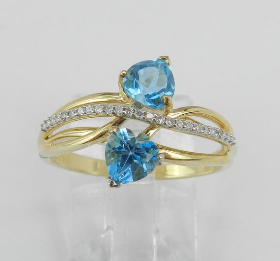 14K Yellow Gold Diamond and Heart Blue Topaz Bypass Ring Size 7 December Birthstone