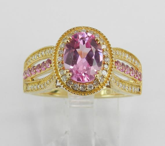 Diamond and Pink Topaz Halo Engagement Promise Ring Yellow Gold Size 7