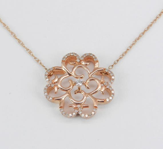 """Rose Gold Diamond Cluster Necklace Unique Flower Pendant 18"""" Chain"""