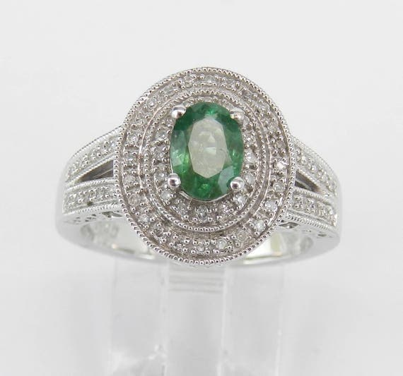 Emerald and Diamond Double Halo Engagement Ring White Gold Size 7 May Birthstone