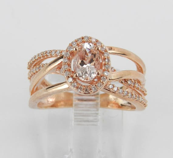 Oval Morganite and Diamond Halo Engagement Ring Rose Gold Size 7 Pink Aqua