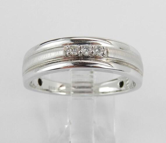 Men's White Gold Diamond Wedding Ring 3 Stone Anniversary Band Size 10.25
