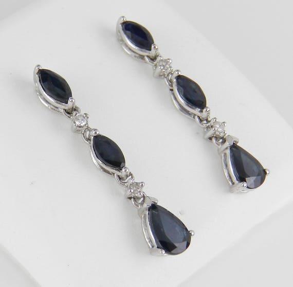 White Gold Sapphire and Diamond Dangle Drop Earrings Wedding September Gift