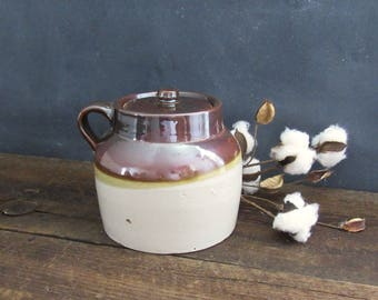 Antique Stoneware Crock with Lid, Country Primitive Bean Pot, 2 Quart Ceramic Bean Pot, Farmhouse Decor